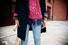 denim, plaid shirt, knit