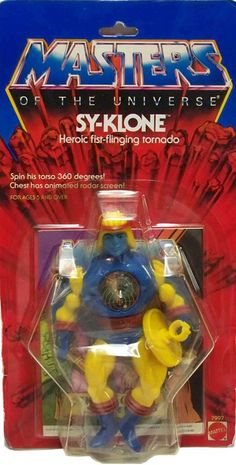 "Sy-Klone, ""Heroic fist-flinging tornado,"" with a lenticular radar screen on his chest, from Mattel's Masters of the Universe"