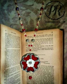 Tudor Rose Necklace ~ Stained Glass Amulet Rose Necklace, Pendant Necklace, Tudor Rose, Stained Glass, Inspired, Inspiration, Jewelry, Design, Biblical Inspiration