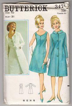 1960s Uncut FF Butterick 3471 Misses Elegant Sleeveless Princess Seamed Dress and Coat Ensemble - Size 10 Bust 31 - Vintage Sewing Pattern
