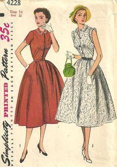d40e2f3f4d Simplicity 4228   Vintage 50s Sewing Pattern   Dress   Size 14 Bust 32