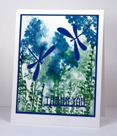 Watercolour Sprigs Heather Telford; Dies: Deco Frame, Flutters (PB); Inks: Nautical Blue, Teal Zeal, Cottage Ivy, Bamboo Leaves Memento ink (Imagine Craft/Tsukineko) Cardstock: Fabriano hot pressed watercolour paper, Blue cardstock