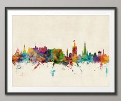 Edinburgh Scotland Skyline, art print  Frame/Matte is not included. Available sizes are shown in the SELECT A SIZE drop down menu above the ADD TO CART