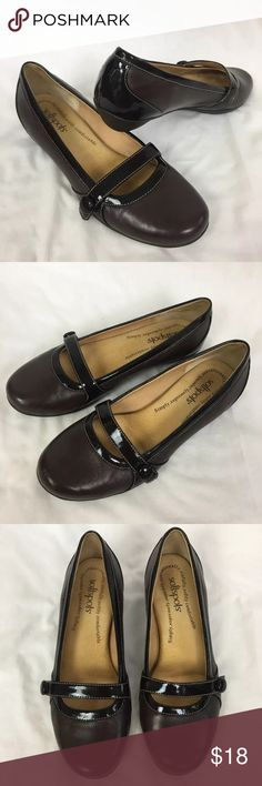 6990121cf Softspots Mary Jane Flats Patent Leather Trim Softspots comfort Mary Jane  slip on shoes. Chocolate
