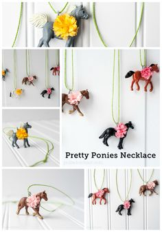 Looking for QUICK and EASY Horse party favors? A tutorial for Horse Pretty Ponies Necklaces. A fun Kentucky Derby Party Pony Party Favor. Horse Birthday Parties, Cowgirl Birthday, Little Girl Birthday, Birthday Ideas, Pony Party, Plastic Animal Crafts, Plastic Animals, Horse Party Favors, Party Girlande