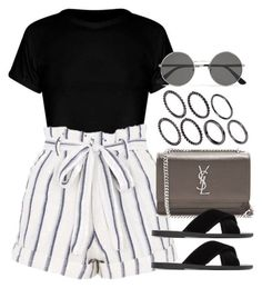A fashion look from August 2017 featuring crop tops, stripe shorts and black slip on shoes. Browse and shop related looks. Teen Fashion Outfits, Mode Outfits, Look Fashion, Korean Fashion, Girl Outfits, Summer Outfits, Fashion Tips, Street Fashion, Cute Casual Outfits