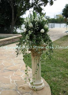 Pedestal Arrangement - all white flowers with cascading ivy