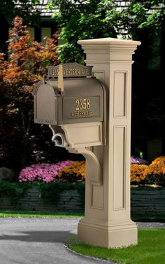 This Grandin Road Liberty Mail Post is truly distinctive. This sturdy mail post is built to a unique design that perfectly pairs with Grandin Road style. 4 x 4 wooden post needed for mailbox set up.Please note: Mailbox not included. Mailbox Post, Mailbox Ideas, Mailbox Designs, Wooden Mailbox, Mailbox Stand, Stone Mailbox, Black Mailbox, Diy Mailbox, Garage Ideas