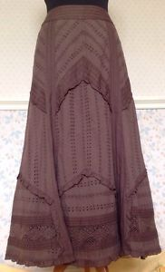 14P-Brown-Broderie-Anglaise-Lace-Ruffled-Long-Maxi-Skirt-Gypsy-Steampunk-Prairie