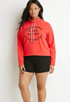 Nowhere Graphic Drawstring Sweatshirt | Forever 21 PLUS - 2000178760