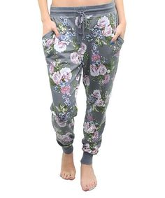 Gray Floral Joggers