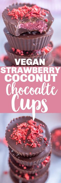 These Strawberry Coconut Chocolate Cups are fruity and chocolatey and so easy to make! They're a fun and exciting spin on the classic peanut butter cup and they're completely vegan and gluten free! They're the perfect special treat for Valentine's Day! #chocolate #chocolatecup #desesrt #treat #vegan Healthy Dessert Recipes, Vegan Desserts, Easy Desserts, Baking Recipes, Delicious Desserts, Snack Recipes, Free Recipes, Vegan Sweets, Healthy Snacks