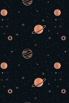 This starry, celestial pattern set consists of 12 seamless vector patterns that were made with elements from my Stars & Celestial Bodies Graphic Pack: . Space Phone Wallpaper, Dark Wallpaper Iphone, Planets Wallpaper, Phone Wallpaper Images, Graphic Wallpaper, Iphone Wallpaper Tumblr Aesthetic, Star Wallpaper, Homescreen Wallpaper, Cute Patterns Wallpaper
