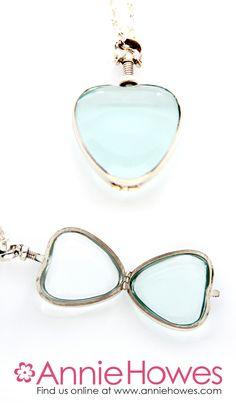 Sterling Silver Glass Locket - Heart
