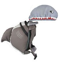 A shark backpack with hood. There is also a ladybug, turtle and a dinosaur. Adorable.