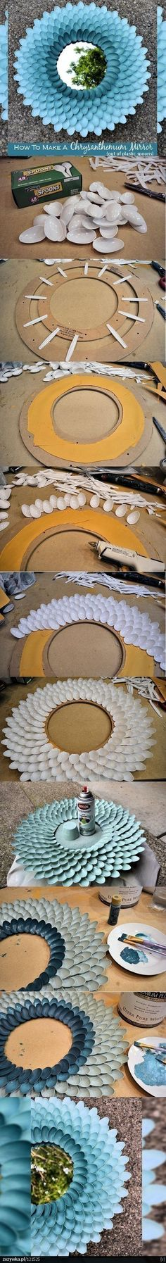 DIY pretty mirror or I am thinking of using this idea for the topper of my bird bath. Wow made out of plastic spoons what!?!