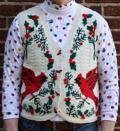 Ugly Christmas Sweater Vest -Oh the Sweet Sweet Cardinal