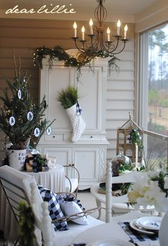 Our Christmas Porch by Dear Lillie--white stocking filled with greenery