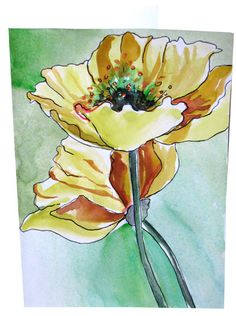 Hand Painted Poppy Watercolor Greeting Cards Flower Note Card Golden Poppies | Flickr - Photo Sharing!