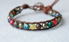 Gemstone wrap leather bracelet, gift for best friend, hipster, boho chic, single Wrap, trendy jewelry, palm tree, tropical beach jewelry