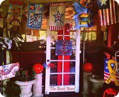 Americana front porch decor at The Back Yard!
