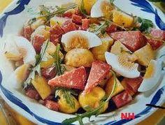 Salad with sausage tartare