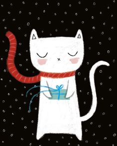 White Kitty brings your present, by Sheree Boyd