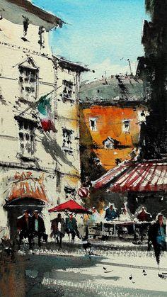 "Saatchi Art Artist maximilian damico; Painting, ""Rome behind the Pantheon II"" #art"