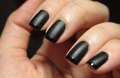 An edgy black matte manicure is fun to sport for a change. I like it best on medium to long nails, either rounded or squovel shaped.