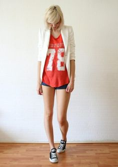 Shop this look on Kaleidoscope (blazer, shorts, sneakers, shirt)  http://kalei.do/W66vEv4cc2zm42Ur