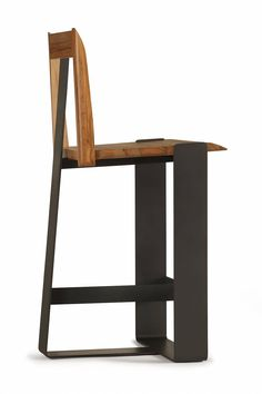 piedmont #3 stool----rear/side view of PS5 in red gum timber with charcoal metalwork.