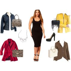"""I like the different options, especially the red with animal clutch.  """"Plus Size Black Body Con Dress"""" by kentuckyfashion on Polyvore"""