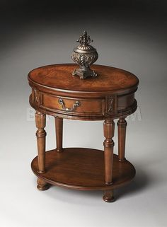 Olive Ash Burl Oval Accent Table www.thehomeaccents.com $349