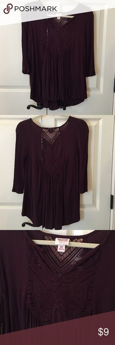 Mossimo Peasant Top EUC Super cute peasant top. Body is 100% rayon and lace inset is 78% cotton 22% nylon. Lace inset on front and back. 3/4 length sleeves. Only worn once. No flaws. Mossimo Supply Co Tops Blouses