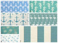 Zipper pillow cover, beach blue, seahorse, starfish, anchors, coral, flamingo, ocean beach pillows - all sizes - Euro sham