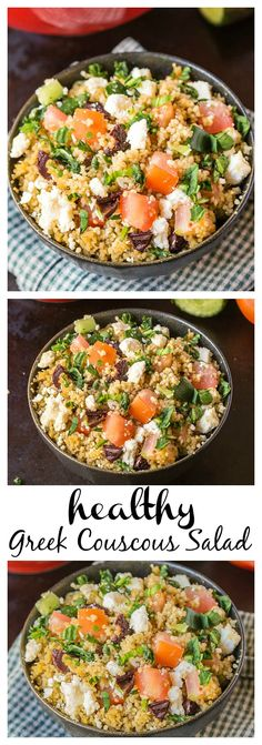 Healthy Greek Couscous Salad- No longer are salads boring with this Healthy Greek Couscous salad! A combination of grains, feta and other vegetables means no dressing is needed- Ready in less than 10 minutes, gluten free and perfect for healthy meals throughout the week! @thebigmansworld -thebigmansworld.com