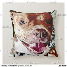 Smiling Pittie Face Throw Pillow Pet Gifts, Custom Pillows, Knitted Fabric, Your Design, The Neighbourhood, Throw Pillows, Make It Yourself, Pets, Knitting