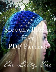 Women's Slouchy Beanie Hat PDF PATTERN Instant Download