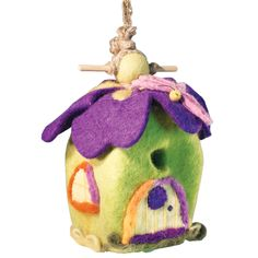 This hand-felted wool birdhouse is made of sustainably harvested, naturally water repellent wool. Surface moisture from dew, rain or snow quickly dries in the open air. Wool is also naturally dirt and