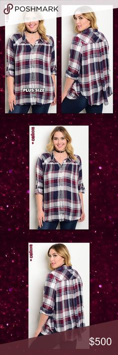 """JUST IN🆕Plus Size Navy & Plum Plaid Top New navy and plum plus size long tab sleeve button down plaid shirt. Color: Navy and Plum Made in China; US Sizing Material: 100% RAYON Sizes Avail: 1XL, 2XL, 3XL  Approx Measurements taken from 1X: Bust: 50"""" Waist: 50"""" Length: 30""""   **Small, Medium, Large are also avail in my closet**   💠💠PRICE FIRM UNLESS BUNDLED💠💠 ⭐️⭐️SORRY NO TRADES AND LOWBALL OFFERS WILL BE IGNORED ⭐️⭐️ 🌺🌺ADDITIONAL MEASUREMENTS AVAIL UPON REQUEST 🌺🌺 Glam Squad 2 You…"""