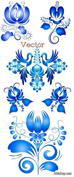 Russian Gzhel ornaments patterns.