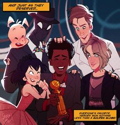 Superheroes and Golden Globe Winners. Marvel Art, Marvel Dc Comics, Marvel Avengers, Spiderman Art, Amazing Spiderman, Fanart, Spider Gwen, Dc Movies, Spider Verse