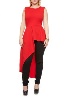 Plus Size Sleeveless Textured Knit Peplum Top with Asymmetrical Hem,RED Cheap Plus Size Clothing, Rainbow Shop, Plus Size Tops, Affordable Fashion, Fashion Outfits, Womens Fashion, My Outfit, Plus Size Outfits, Plus Size Fashion