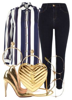"""10/8/16 x Gold Lover"" by nasirkami ❤ liked on Polyvore featuring River Island, Yves Saint Laurent, Christian Louboutin and ASOS"