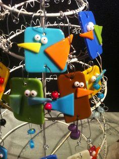Fused glass crazy birds!  www.uberboblz.com