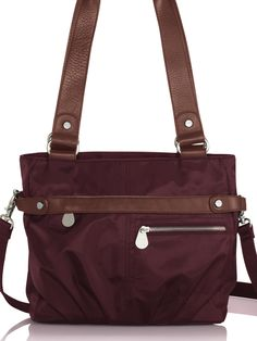 #baggallini 2013 spring, leather trim collection kathryn tote. #orderisbeautiful with secure, zippered top opening, interior cell phone pocket, credit card slots, pen, lipstick holder and included removable leather-trimmed wallet. #baggspiration
