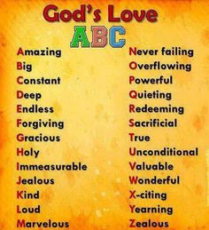 God's love = Take a word a week for B.P. Kids and teach them a wonderful word for the week and what it means, place it in a sentence for them ;-)