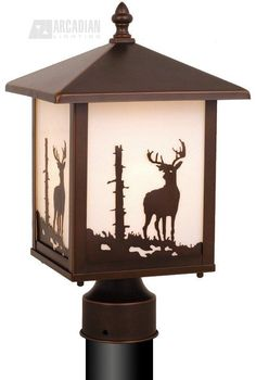 South Shore Decorating: Vaxcel Lighting Yellowstone Deer Transitional Outdoor Post Lantern Light-Home and Garden Design Ideas