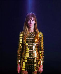 French singer & actress Francoise Hardy in Paco Rabanne dress