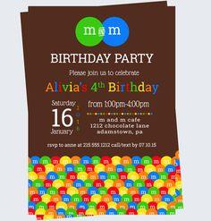 M & M cumpleaños invitación caramelo colorido por PaperCleverParty
